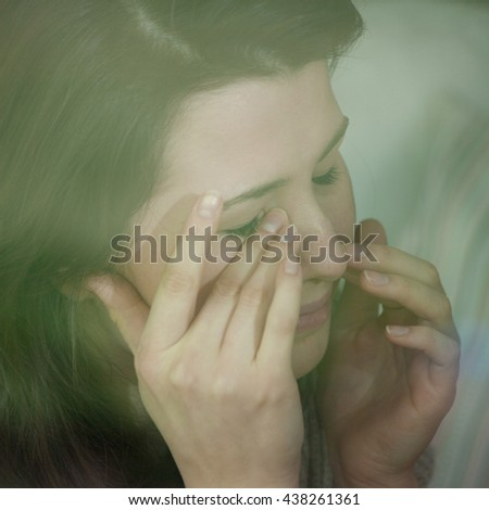 Young women in depression - stock photo