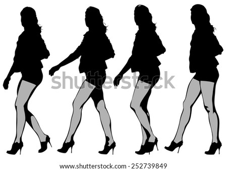 Young women in dress on white background - stock photo