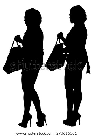 Young women in dress whit bag on white background - stock photo