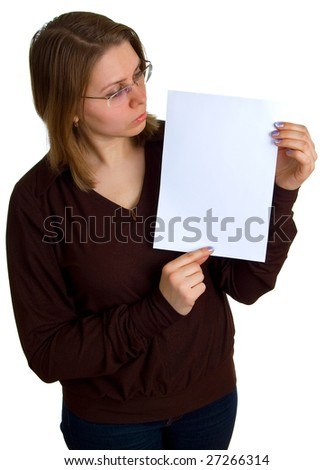 young women in glasses shows empty sheet of a white paper. Isolation on the white