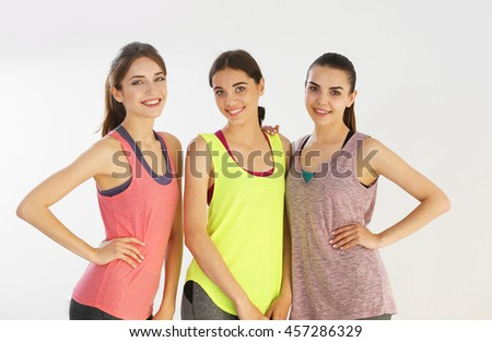 Young women in  gym