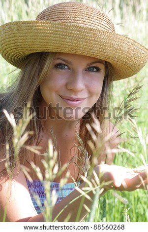 Young women in Summer Meadow - stock photo