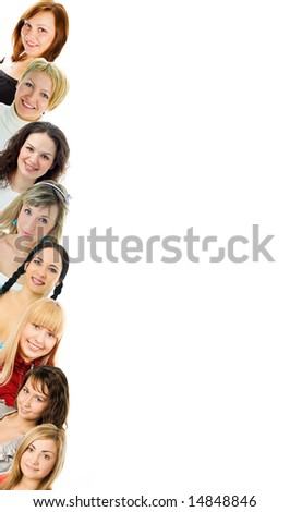 young women isolated om white background