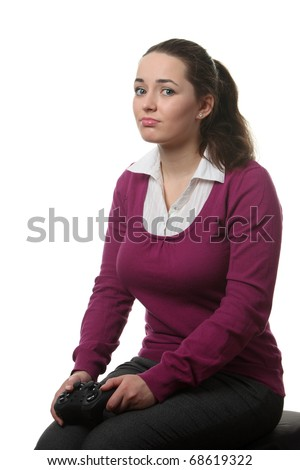 Young women loss wideogame on the white isolated background - stock photo