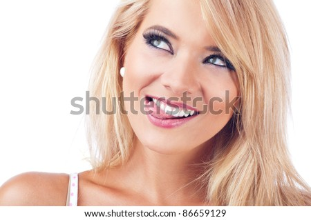 Young women  making a funny face - stock photo