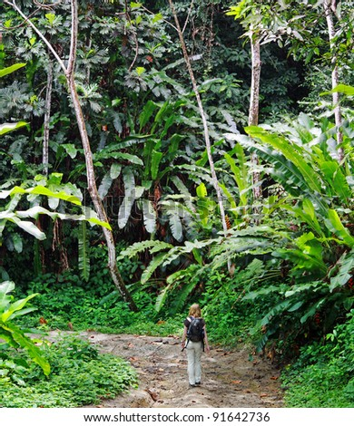 Young women on a jungle trail near Blanchisseuse (Trinidad) - stock photo