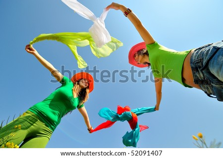 young women on field in summer - stock photo