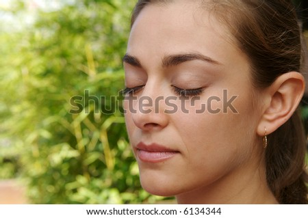 Young women relaxing and doing yoga exercise - stock photo