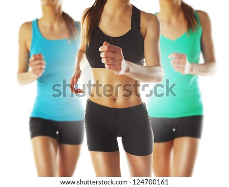 Young women running / Running athletes - stock photo
