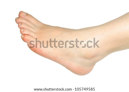 young women's foot on a white background