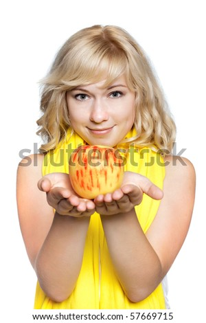 Young women smiling woman with red apple, isolated