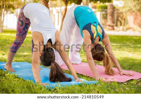 Young women trying the downward facing dog pose while doing yoga at a park - stock photo