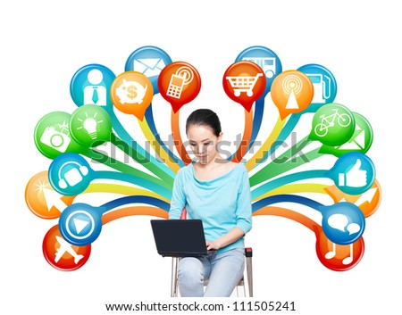 Young women use notebook computer, electronic business concept - stock photo