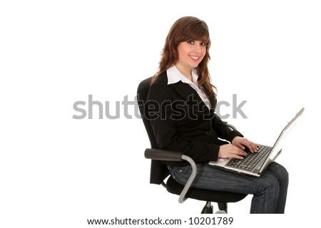 Young women using laptop - stock photo