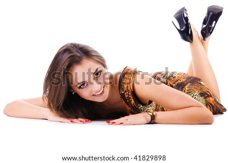 Young women with a beautiful legs. Isolated on white background.