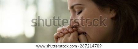 Young women with a nervous breakdown - stock photo