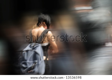 Young women with bag in the city - stock photo