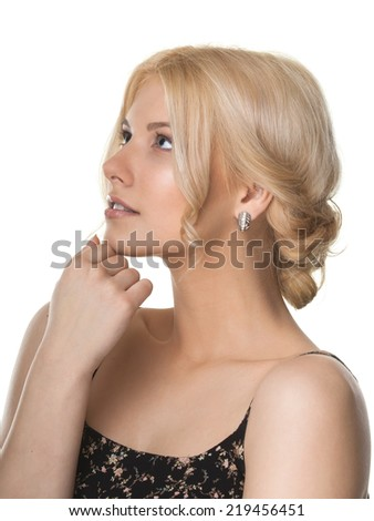 Young women with blond hair - stock photo