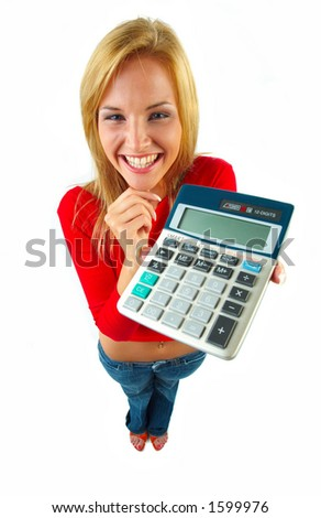 young women with calculator - stock photo