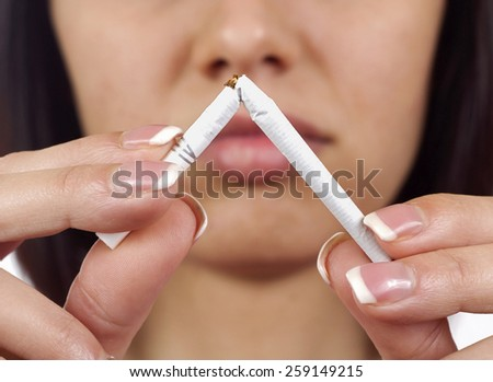 Young women with cigarette