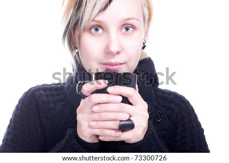 Young women with cup on white - stock photo