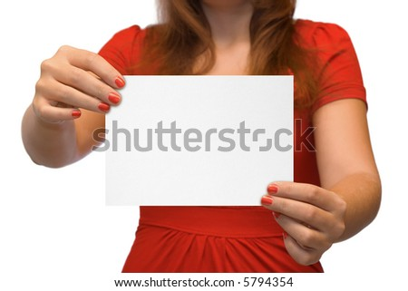 Young women with empty card, isolated on white background - stock photo