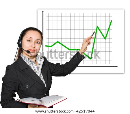 Young women with headset showing red diagram - stock photo