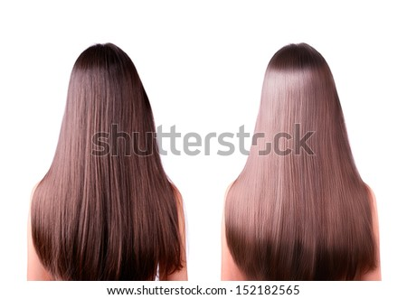 young women with long straight brown hair. rear view. hair straightening, before and after. two images in one photo. isolated on a white background. - stock photo