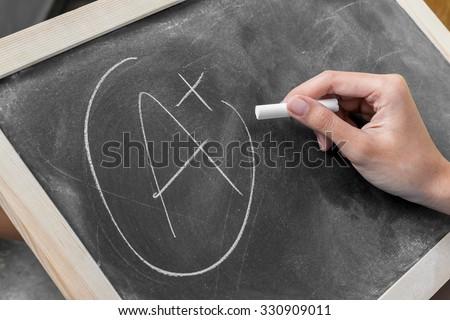 Young women write grade a plus on blackboard - stock photo