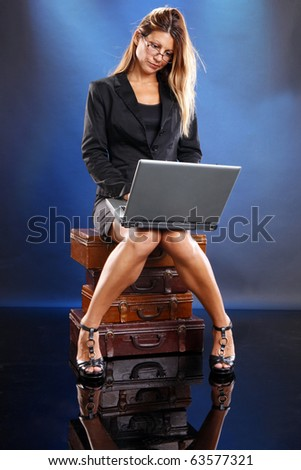 Young worker browses for a job online - stock photo