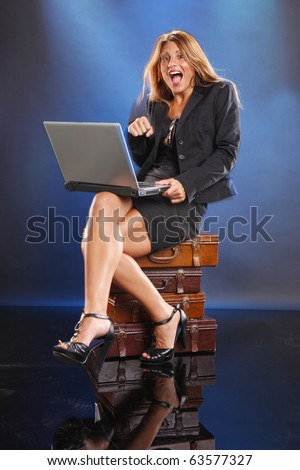 Young worker finds a job online - stock photo