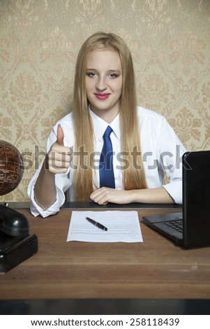 young worker happy with the new agreement - stock photo