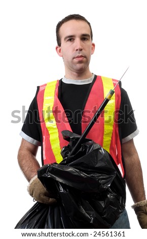 Young worker holding a poking stick and a garbage bag, used to pick up public trash, isolated against a white background - stock photo