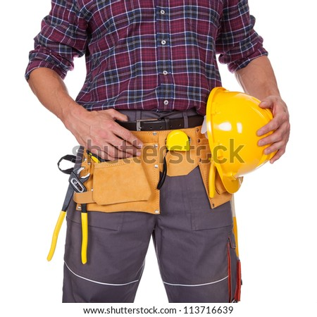 Young Worker Man With Hard Hat On White Background