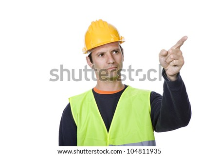 young worker pointing, in a white background - stock photo