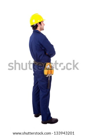 Young worker standing from back on white background