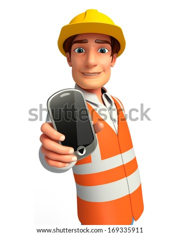 Young worker with mobile - stock photo