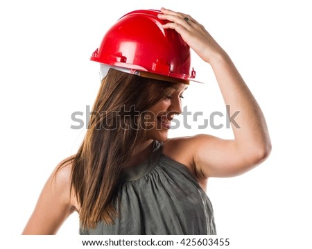 Young worker woman with red hat