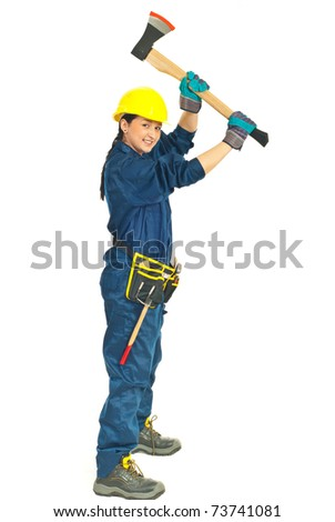 Young worker woman working with axe isolated on white background