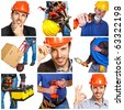 Young workers with tools details and architect. - stock photo