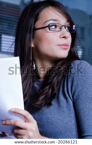 young working woman at the office - stock photo
