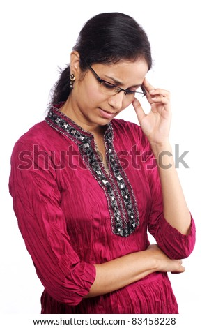 young worried woman - stock photo