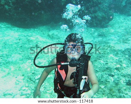 Young 11 year old scuba diving