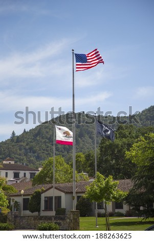 YOUNTVILLE, CA - APRIL 16: Flags honoring veterans of all wars at Veterans Home of California in Yountville, Napa Valley on April 16, 2014 - stock photo