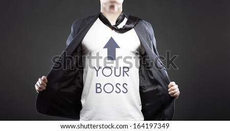 Your business boss with young successful businessman creative concept - stock photo