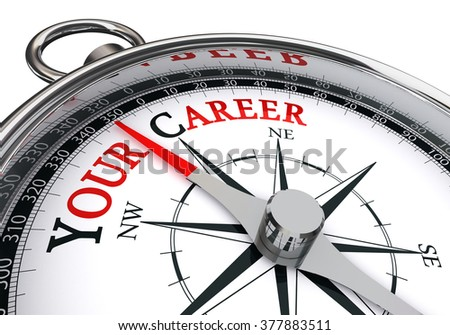 your career the way indicated by motivation compass, isolated on white background - stock photo