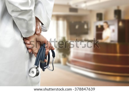 your consultant of medicine and slim woman hands  - stock photo