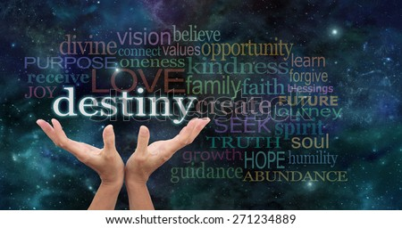 Your Destiny is in Your Hands - Female hands reaching up into the night sky with the word 'destiny' floating above, surrounded by a word cloud of wise words - stock photo