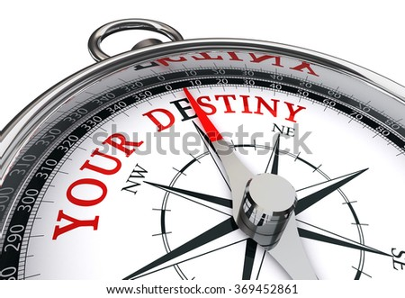 Your destiny, the way indicated by motivation compass, isolated on white background