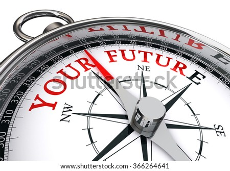 your future direction indicated by motivation compass, isolated on white background - stock photo
